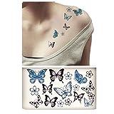 Tattoo Aufkleber Schmetterling Blumen Temporary Tattoos Haut Tatoos Körperschmuck Geschenk ,4er ein Set