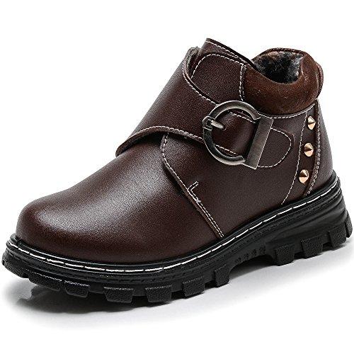 VILOCY Kid's Boy Mikrofaser Leder Klettverschluss Schule Schneeschuhe Warme Pelz Gefüttert Schnalle Slip On Sneaker Schuhe Braun,34EU (Pelz Leder Gefüttert)