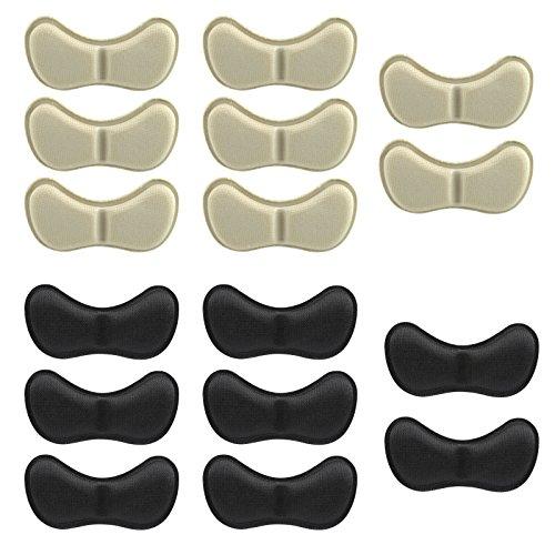 Naler 8 Paar Fersenhalter Weiche Anti-Rutsch Fersenpolster Selbstklebend Fersenschutz in Schwarz und Beige Schuh Einlegesohlen Kissen Pads Aufkleber Fußpflege