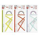 Herlitz Geometrieset my.pen, 4-teilig: 2 Geometriedreiecke, 1 Lineal 30 cm und Winkelmesser 10 cm