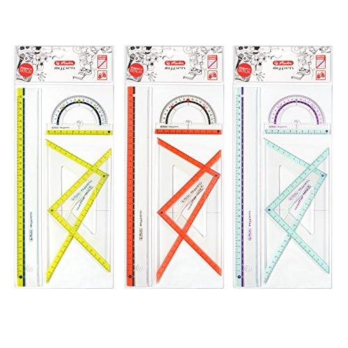 Herlitz my.pen - Set da geometria composto da 2 squadre, 1 riga da 30 cm e 1 goniometro di 10 cm