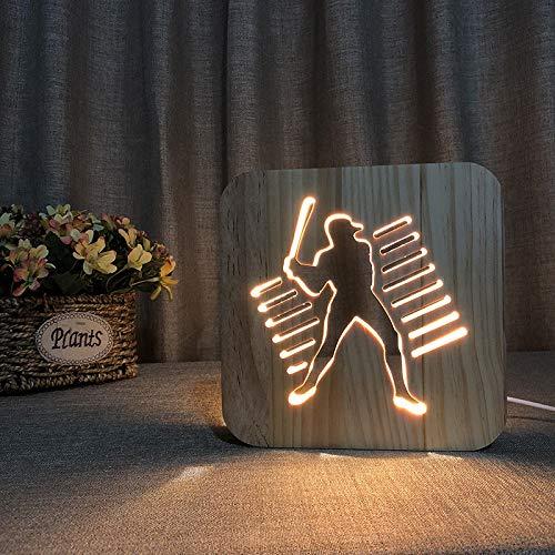 Massivholzschnitzerei Baseball Charakter Led Kreative Geschenk Nachtlicht Holz Lampe Ersatz Usb Lichtlinie -
