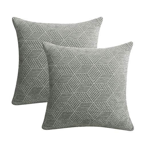 Mrniu set di 2federe copricuscino federa piazza federe senza inserto cuscino con zip nascosta breve home decor divano divano geometriche stampe, grey-2, 45 x 45 cm