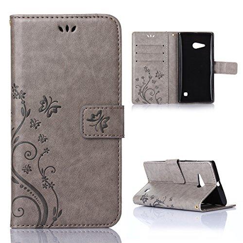 Nokia Lumia 730 735 Hülle, CaseFirst Lederhülle Stoßfest Handyhülle Geprägt Textur Ultra Dünn Schutzhülle Kratzfest Hülle Wallet Case mit Handy Halter und Card Slots (Grau)