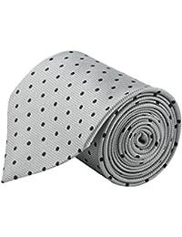 Modo Formal Ties For Men, Geometric Silver Grey Slim Tie