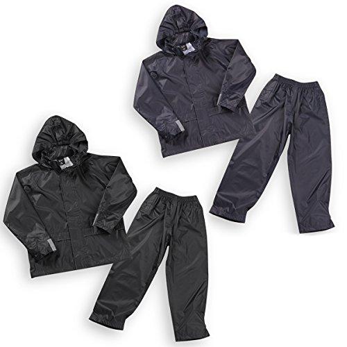 Boys Kids Childrens Waterproof Jacket Coat Trousers Pants Set Hooded Tracksuit