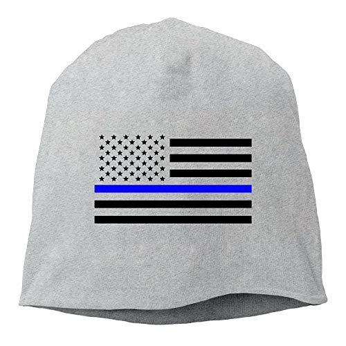 Naiyin Thin Blue Line American Flag Beanie Hats Knit Skull Caps Winter Beanies for Men WomenAsh (Flag American Beanie)