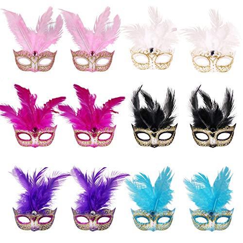 qurade Masken, 12 stücke Set Kleine Karneval Maske Halloween Neuheit Geschenke Party Dekoration ()