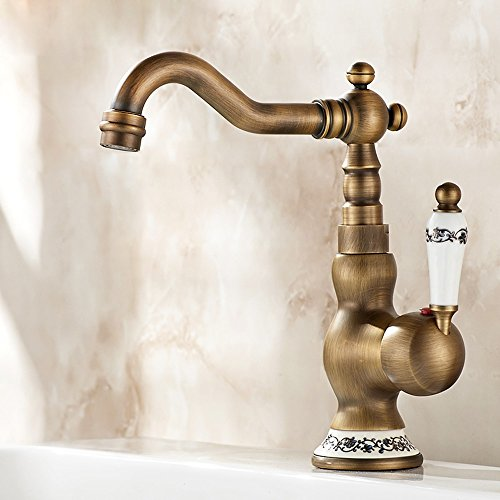 Pumpink European Wash Your Face Waschbecken Hot And Cold Wasserhahn Alle Bronze American Style Lace Griff Single Hole Antique Küche Badezimmer Mixer Tap (Color : B)