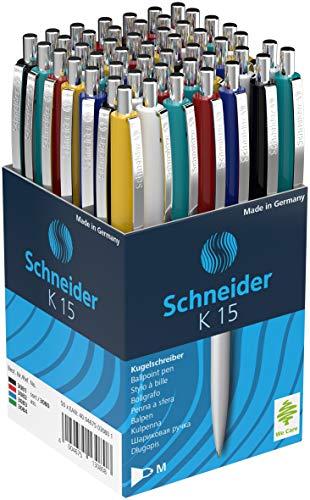 Schneider Kugelschreiber K15, Schreibfarbe blau, 50 Stück, Gehäusefarben rot, grün, weiß, blau, schwarz, gelb (nur Stifte, 50 Stück/Sortiert) (Stifte 50 Stück sortiert (Schreibfarbe: Blau))