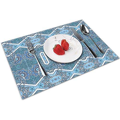Strawberryran Floating Flower Blues (EIN Jugendstil-Zick-Zack) Tischsets für den Esstisch, waschbares Tischset, hitzebeständig, 6er-Set (12 x 18 Zoll)