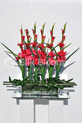 Moderner Künstliche Rot Fresh Touch Gladiolen und Bamboo Floral Tisch Arrangement