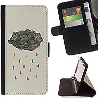 For HTC One A9 Case , Metafora pioggia Grigio Arcobaleno Profondo - Portafoglio in pelle della Carta di Credito fessure PU Holster Cover in pelle case - Copertura Della Pioggia Arcobaleno