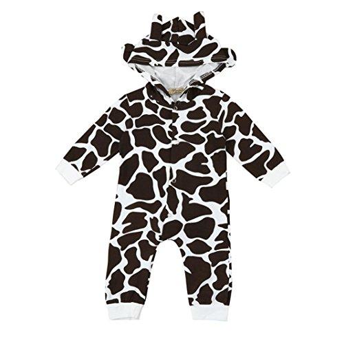 Kleinkind Neugeboren Baby Karikatur Kuh Karikatur Mit Kapuze Strampelhöschen Hirolan Jungen Mädchen Overall Outfits Kleider (90cm, Braun)