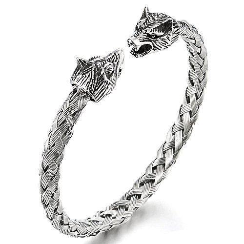 COOLSTEELANDBEYOND Herren Wolfskopf Armband Edelstahl Geflochtene Stahlkabel Armreif Farbe Silber Poliert, Verstellbare