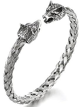 Herren Wolfskopf Armband Edelstahl Geflochtene Stahlkabel Armreif Farbe Silber Poliert, Verstellbare