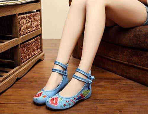 Ogsiwr Bestickte Schuhe, Sehnensohle, Ethno-Stil, weibliche Stoffschuhe, Mode, bequem, lässig in der Erhöhung, hellblau, 37 (Farbe : -, Größe : -) -