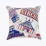 Kissenbezug Circus. Kissenbezug aus robustem Stoff von Baumwolle inspiriert Magische Welt des Zirkus. Die Fantasie mehrfarbig ist eine Collage von App Werbung von verschiedenen Zirkus. 45x45 cm mehrfarbig