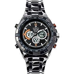 Globenfeld Super Sport - Armbanduhr mit Metallarmband - Analog-/Digital-Anzeige mit 3 Funktionen - Stoppuhr & Tachymeter - Wasserdicht bis 30 Meter - Schwarz