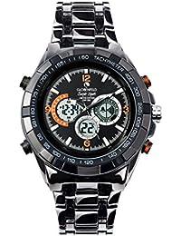 Globenfeld - Super Sport - Reloj de pulsera con 3 subdiales - Modo analógico y digital - Cronómetro y taquímetro - Gris metálico Resistente al agua hasta 30 metros (negro)