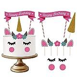 Einhorn Tortendekoration, Einhorn Kuchen Geburtstag Deko Torten Topper Kindergeburtstag Party Supplies Mit Diy Happy Birthday Wimpelgirlande -GOEU