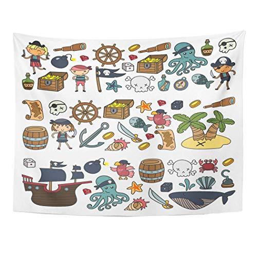 Monicago Wandteppiche, Tapestry Wall Hanging, Children Playing Pirates Boys and Girls Kindergarten School Preschool Halloween 60