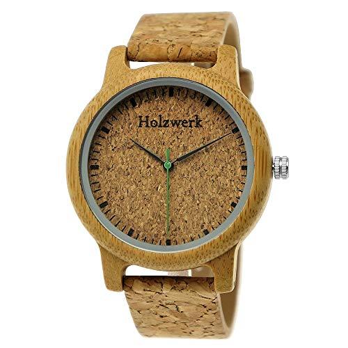 Handgefertigte Holzwerk Germany® Unisex Damen-Uhr Herren-Uhr Öko Natur Vegan Holz-Uhr Armband-Uhr Analog Klassisch Quarz-Uhr mit Kork Armband und Ziffernblatt (Braun)