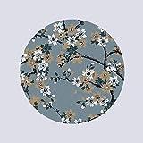 QZ HOME Teppich Wohnzimmer Hohe Qualität Material China Tuschemalerei Stil Retro Kreativ Runde Rutschfest (Farbe : A, größe : Diameter-1.2M)