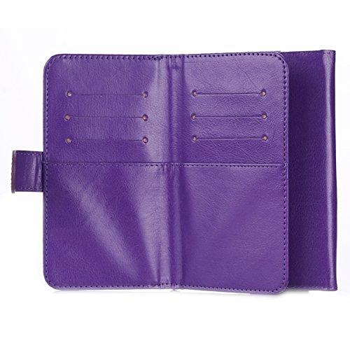 Phone case & Hülle Für iPhone 6 Plus / 6S Plus / 6/5 / 5S / 5C, Samsung Galaxy / S 5 / S IV / I9500, Universalfeine Schaffell Textur Leder Tasche mit Card Slots & Wallet & Lanyard ( Color : Brown ) Purple