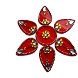 Handmade Elegantly Designed Red Rangoli - With Tear Drop Shape Design Decorated With Multicolour Stones And Beads On Red Round Square Shaped Plastic Base - 7 Pieces Set - Packed In Transparent Pouch
