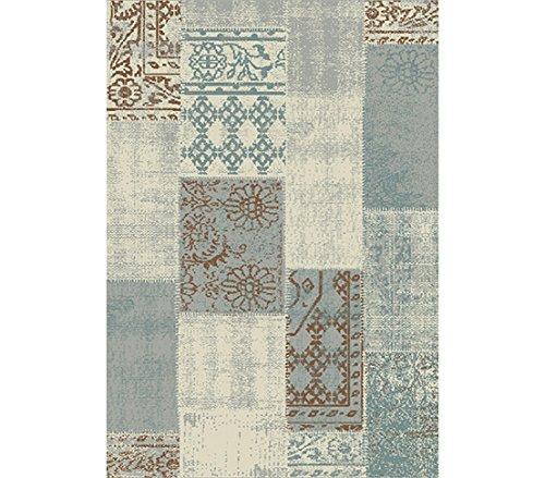 Dehner Outdoor Teppich Vintage, ca. 290 x 200 cm, Polypropylen, grau/braun/blau