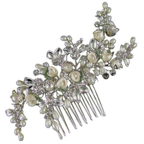 laviniata Rosebud de mariage Peigne à cheveux 11 cm (plaqué argent) e4802hs