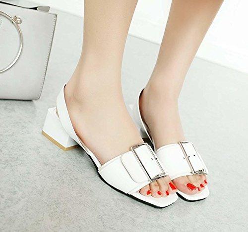 NobS Metal Mary Jane Open Toe Chunky Ferse Sandalen Frauen Große Größe Ankle Strap Schuhe 40-45size White