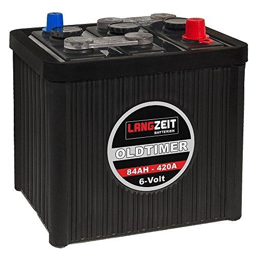 LANGZEIT Oldtimer Batterie 6V 84Ah Autobatterie Starterbatterie 6-Volt 08411 420a Batterie