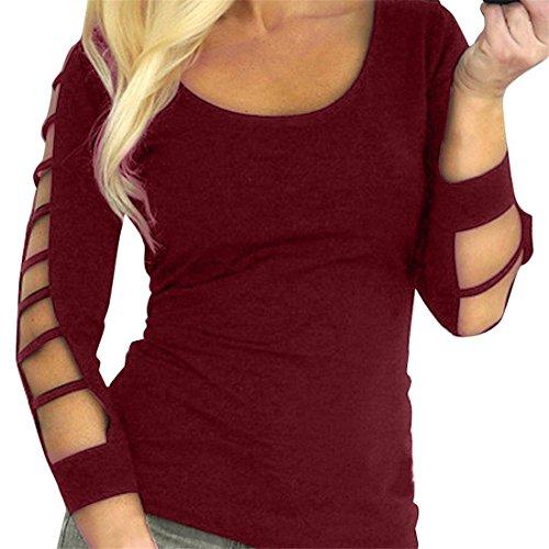 Damen Lange Ärmel Bluse,Mädchen Frauen Aushöhlen Top Hemd T-Shirt Pullover Friendgg Frühling Sommer Herbst Mode Elegante Schlank Beiläufig Sweatshirt Elude Kleid Weste Jumper,Damen Bluse (Rot, XL)