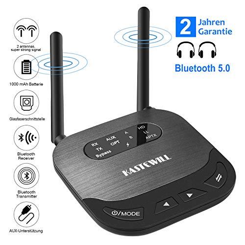 KASTEWILL Bluetooth Adapter 5.0 Transmitter Empfänger 80m, 3-in-1 Sender Receiver Bluetooth Adapter Audio mit aptX HD, RCA Kable, 3,5 mm AUX, Optisches TOSLINK für Home/TV/Car