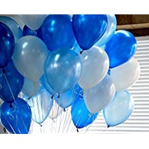 PuTwo globos de 15pulgadas–juego de 100Decoración de Fiestas globos glonflables redondas–azul/blanco