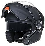 Klapphelm Integralhelm Helm Motorradhelm RALLOX 109 schwarz/matt mit Sonnenblende (S, M, L, XL) Größe M - 2