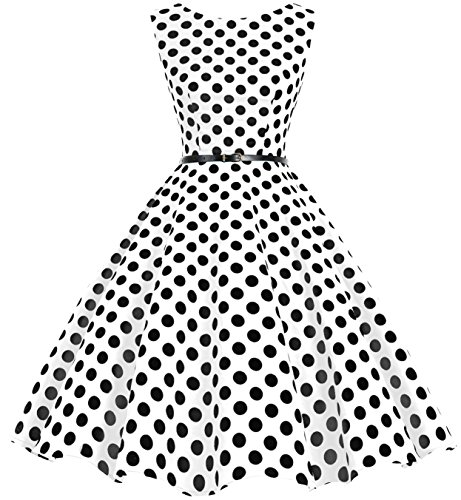 bbonlinedress 50s Retro Schwingen Vintage Rockabilly Kleid Faltenrock White Black Big Dot 2XL
