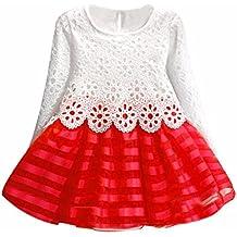 Ropa De La Muchacha Niños,RETUROM Niña Vestido De Flores De Navidad Lindo De Muchachas Hermosas De Manga Larga Vestido De Princesa Hollow