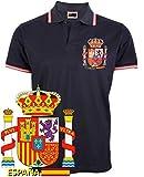 dicep Polo Bandera de España con Escudo (M, Negro)