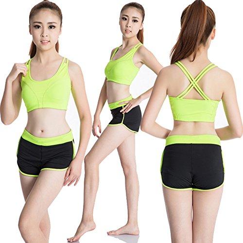 Donna Reggiseno Sportivo Yoga Comfort Bra Imbottite Rimovibili Fitness e Palestra Verde Fluorescente
