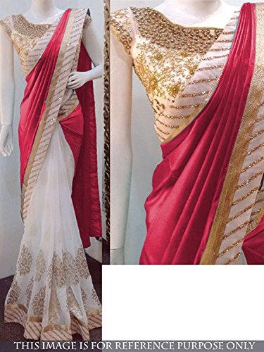 aecdd5826 Taadrashya Sarees for women red color in georgette and net with heavy  embroidered half and half
