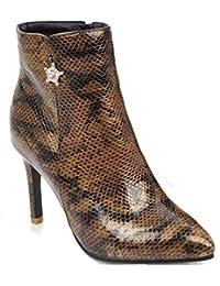 6645b521f90f Aisun Femme Elégant Talon Aiguille Coupe Pointue Strass Mariage Serpent  Bottines