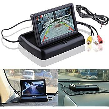 Pliez dans le tableau de bord Vue arrière de la voiture Lecteur de vidéo à écran LCD inverse avec écran d'affichage HD de 4,3 pouces pour l'assistance de véhicule de caméra de recul