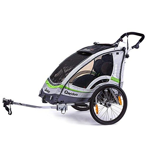 Qeridoo Sportrex 2 Deluxe (inkl. Sitzpolster) Kinder-Fahrradanhänger für 2 Kinder (mit einstellbarer Federung) – grün - 2
