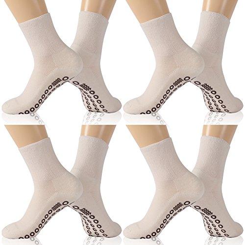KitNSox Unisex Diabetiker-Socken, feuchtigkeitsableitend, Rutschfest, lässig, Crew Socken für Männer und Frauen, Herren, White 4 Pairs Nonslip Circulatory Socks, L:Shoe Size:10-13 (Diabetiker Gepolsterte Socken)