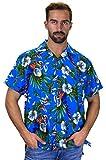 Funky Hawaiihemd, Vogel Kirsche, Blau, M