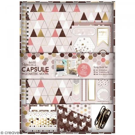 Papermania capsula geometrica Scrap Book set, mocha-p, Mocha, 24 cm