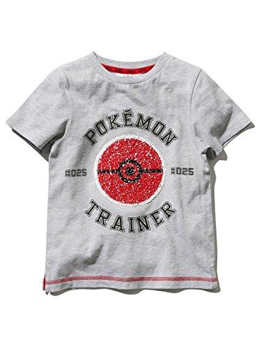 M&Co Pokemon Boys Cotton Rich Short Sleeve Crew Neck Two Way Sequin Grey Marl T-Shirt